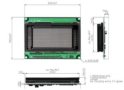 GU128X64E-U100 dimensions