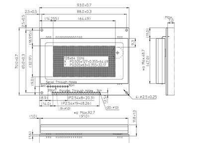 GU128X64E-U100 dimensions detail