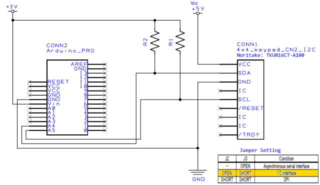 TKU016CT-A100 Connection diagram for I2C Arduino Sample Code