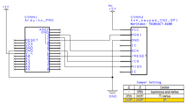 TKU016CT-A100 Connection diagram for SPI Arduino Sample Code