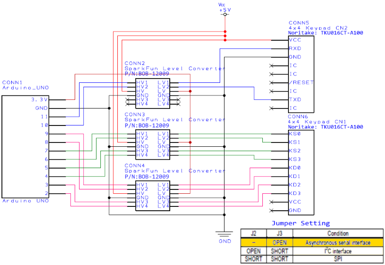 TKU016CT-A100 Connection diagram for UART Arduino Sample Code